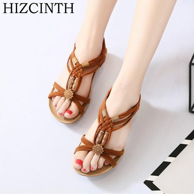 ec293889ef8 HIZCINTH 2018 Summer Sandals Women Bohemia Beaded Flat Flip Flops Open-toed  Casual Rome Sandalias Femininas Shoes Woman Sandali