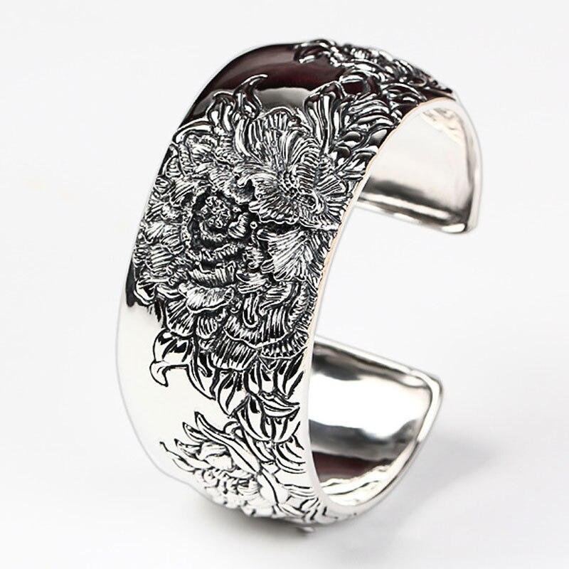 RADHORSE 925 серебряные браслеты для женщин ювелирные украшения Китай Пион цветок роскошный Моделирование Классический стиль регулируемые брас