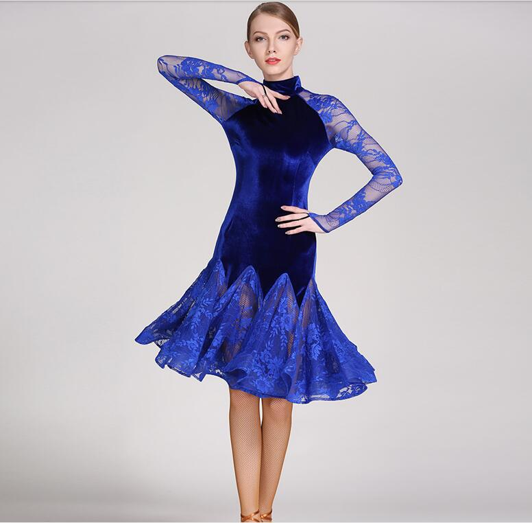 Long sleeve Lace Latin ballroom dress Modern Women Tango dancing dress 3 colors Latin salsa dress dance