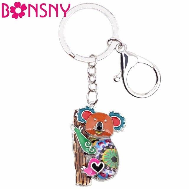 Bonsny esmalte animal Australia Koala oso Llaveros para las mujeres ...
