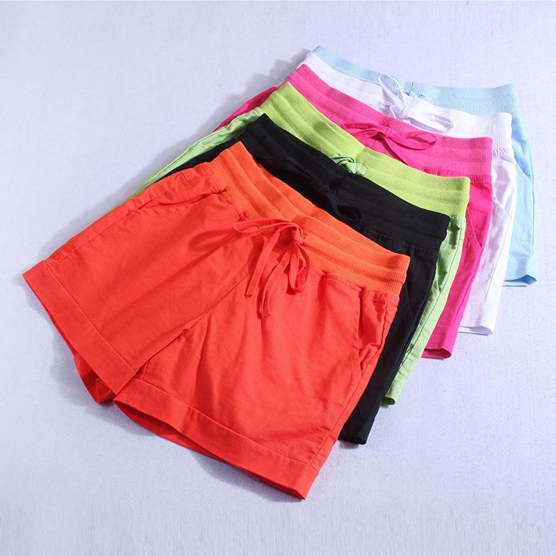 Big size zomer vrouwen casual losse korte femme katoen linnen comfortabele shorts elastische taille shorts oversize S-5XL 2018