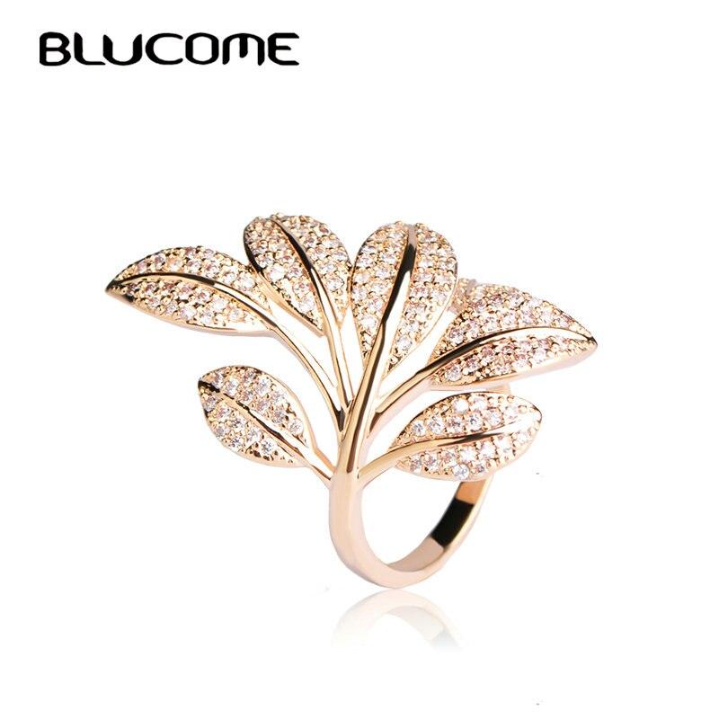Blucome 2018 Primavera Micro Pave Zircon Anel Flor Da Árvore Folha Forma Anéis Para As Mulheres de Cobre da Cor do Ouro Partido Jóias Anillo bijoux