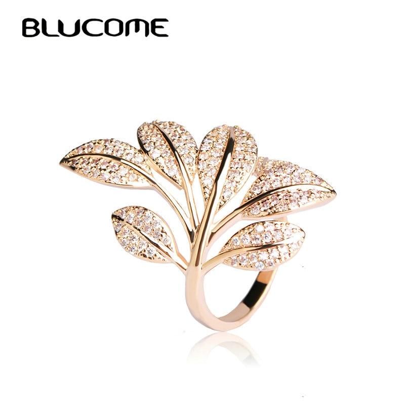 Blucome 2018 primavera micro Pave ZIRCON anillo árbol flor hoja ...