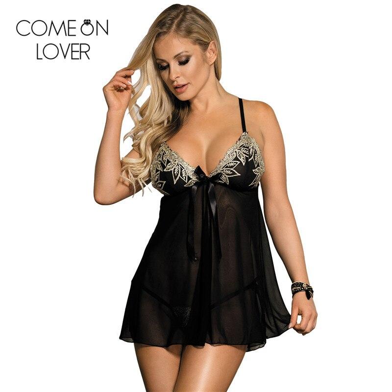 Comeonlover Sexig nattig front öppen sexig underkläder babydoll plus storlek spets ropa interiör mujer sovkläder underkläder för sex RE80409
