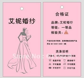 Customized Wedding Dress hangtags/tag/garment labels/printed tags/logo/main labels Free Shipping+drill hole+Glue needle