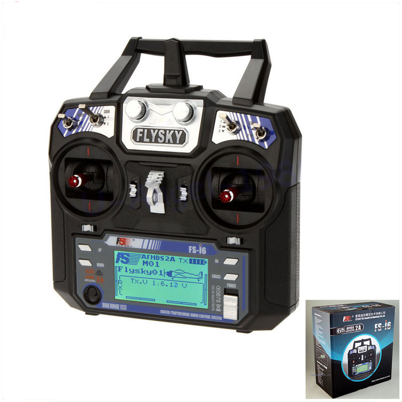 ФОТО 1pcs New Version FS FlySky FS-i6 2.4G 6ch Transmitter+FS-iA6 Receiver System LCD screen for RC helicopter(with retail box)