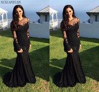 Generous Black Mermaid Evening Dresses 2020 Long Sleeved Prom Dress Galajurk Robe De Soiree Sheer Formal Party Gowns