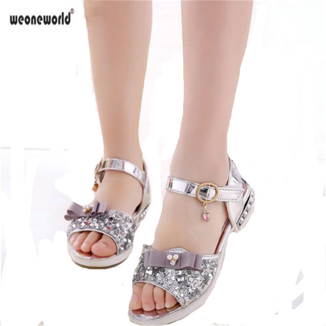 0d78c71bb8b58b Kids crystal leather Sandals Girls gold 2018 Summer shoes sequins Fashion  Kids Sandal sage 10 Big Flower Princess Shoes Size 37