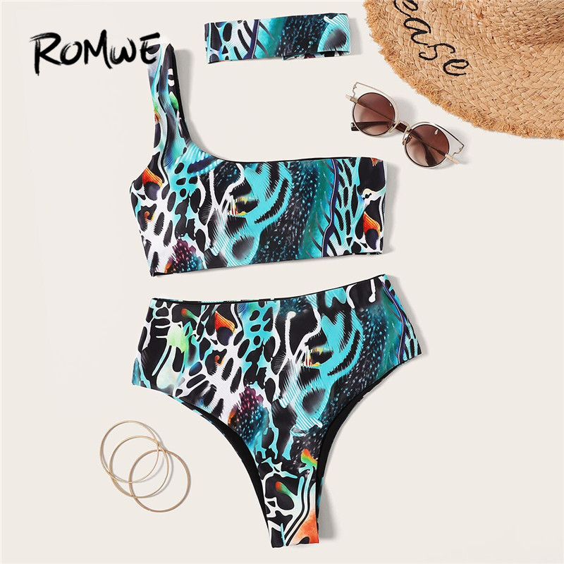 Romwe Sport Animal Print One Shoulder Bikini Set With Choker Women Sexy Wireless Two Piece Swimsuit Ladies High Waist Swimsuit