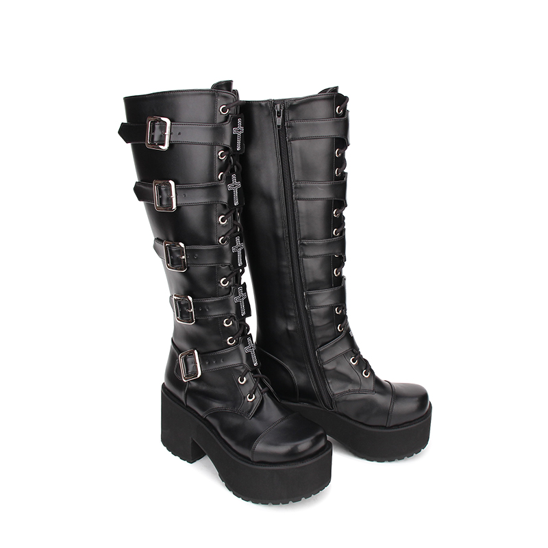 Angelic imprint New Arrival PU Leather Round Toe Punk style Platform Knee Lace Up High Boots Stars Lolita Shoes Size 35-46 angelic imprint gothic lolita style platform shoes new fashion lolita sandals size 35 46 8276