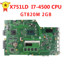 Original For ASUS X751LD X751L K751L K751LN REV:2.0 laptop motherboard USB3.0 DDR3 with I7-4500U 4 video memory 100%tested