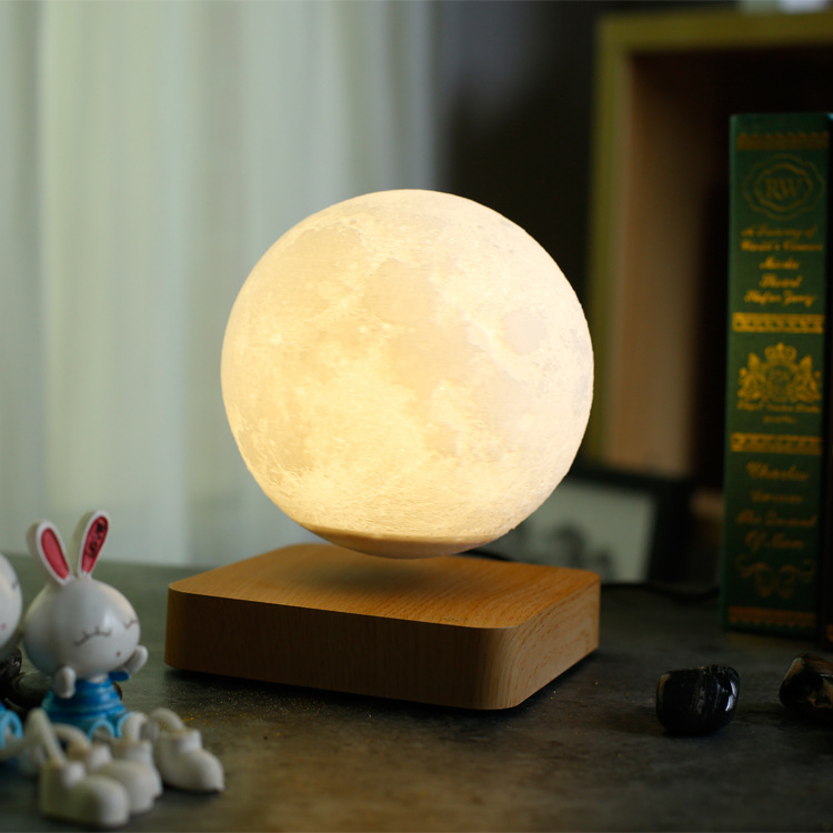 Maglev LED moon night light 3d Printing Lunar lamp Creative Birthday Gift Romantic Valentine's Day Magnetic levitation rotation - 2