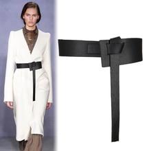 Nuevo diseño de cinturones anudados para mujer, de piel sintética ancho y largo, fajines de moda para mujer, vestidos decorados, regalos con hebilla de lazo de cuero marrón