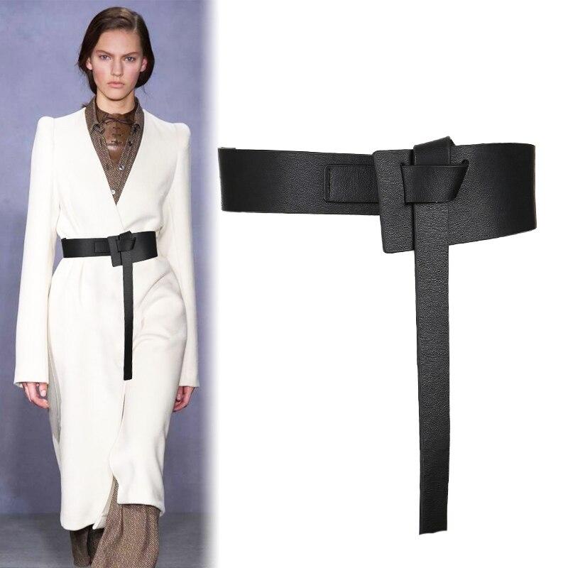 Novo design feminino atados cós largo longo couro do plutônio moda mulher cummerbunds vestido decorar marrom couro arco fivela presentes
