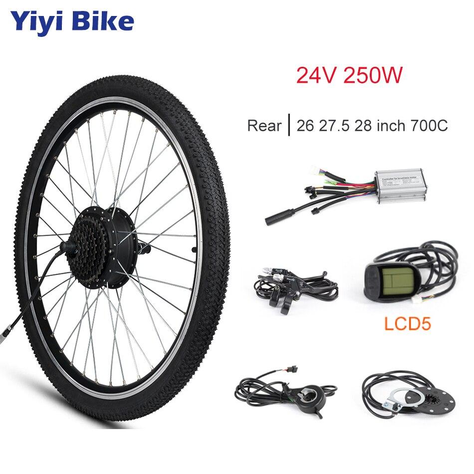 Electric Bike Conversion Kit 24V 250W Rear Motor Wheel 24 20 16 inch Tire DC Brushless