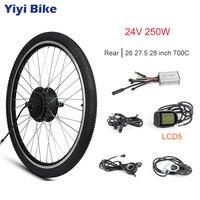 Electric Bike Conversion Kit 24V 250W Rear Motor Wheel 24 20 16 inch Tire DC Brushless Gear Hub Motor DC Controller KT LCD3 LED