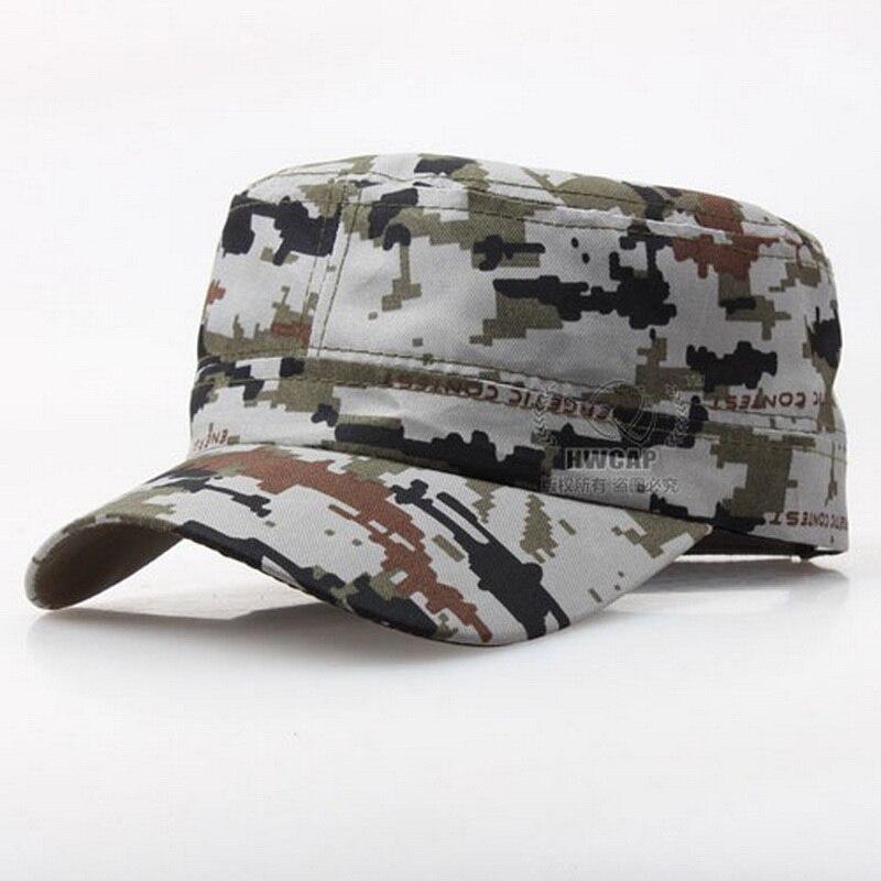 78d8ea3f51b3 Hombres militares sombreros Cadet Castro gorra militar superior plana  patrulla gorras de béisbol moda Unisex algodón camuflaje verano Sun  sombreros ...