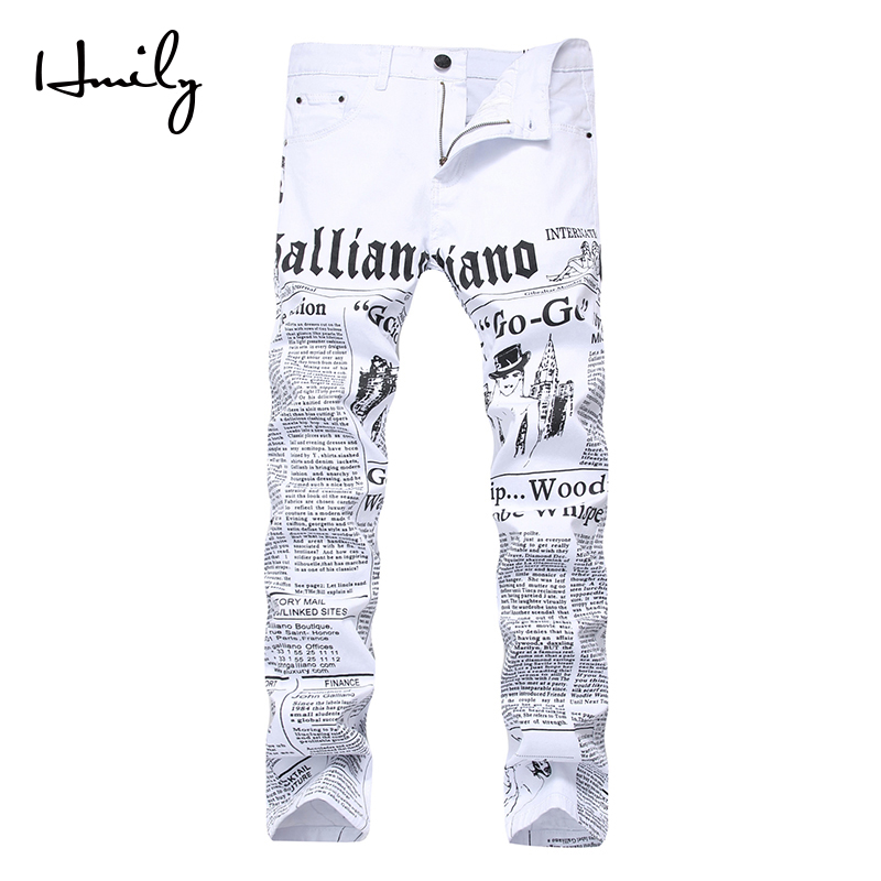 HMILY High Street Fashion Mens Jeans Night Club White Color Personal Designer Printed Jeans Men Punk Pants Skinny Hip Hop Jeans