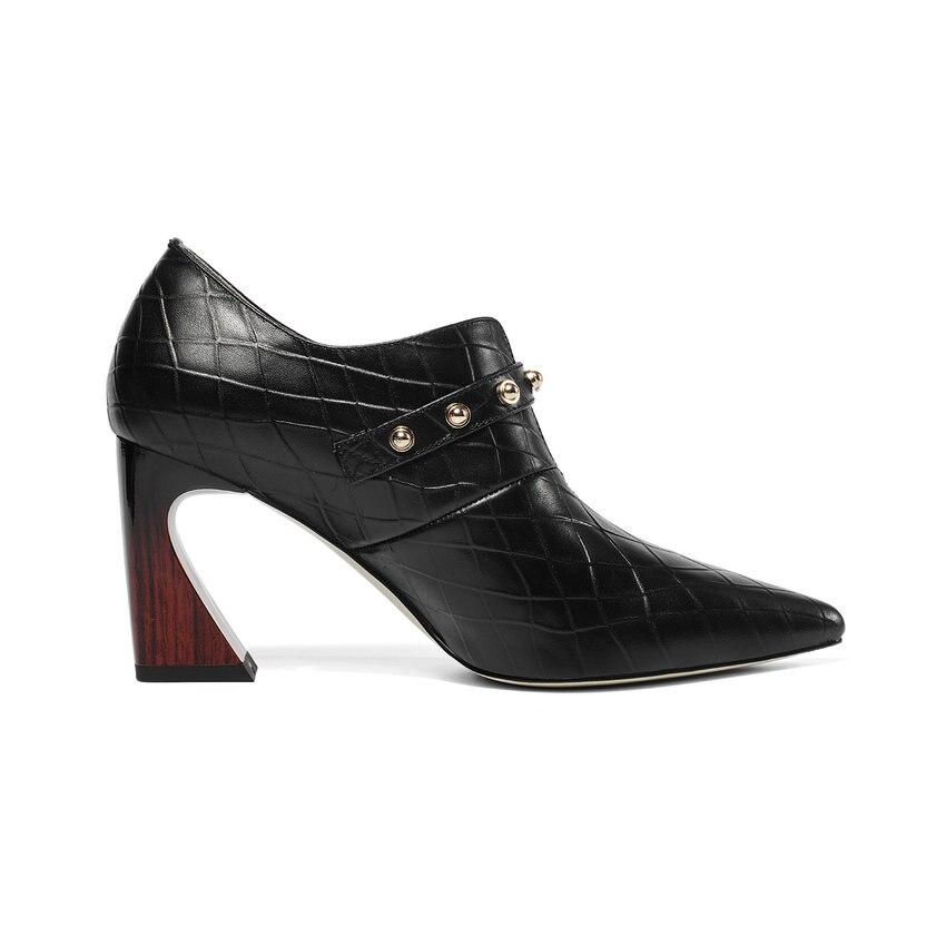 Qutaa Beige Des forme Bout Pour Lacets Dames Plate Pu Pompes Sexy Femmes 34 Taille 43 Vache noir Chaussures Cuir En À Printemps automne 2019 Pointu De rAXwSnqCxr