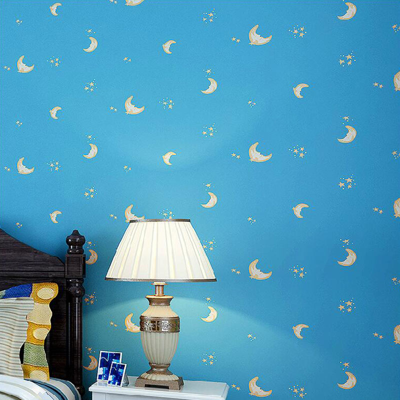 Cartoon Moon Stars Boys And Girls Bedroom Non-woven Fabric Wallpaper Blue Pink Kids Children Room Wall Papers Papel De ParedeCartoon Moon Stars Boys And Girls Bedroom Non-woven Fabric Wallpaper Blue Pink Kids Children Room Wall Papers Papel De Parede