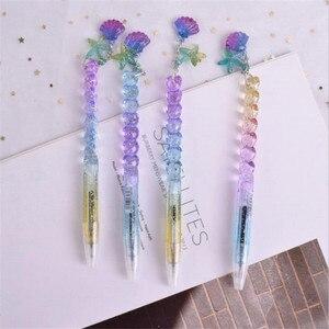 1 pçs 0.5mm tinta preta bling gradiente princesa concha pingente gel caneta material escolar estudantes crianças presentes papelaria canetas atacado