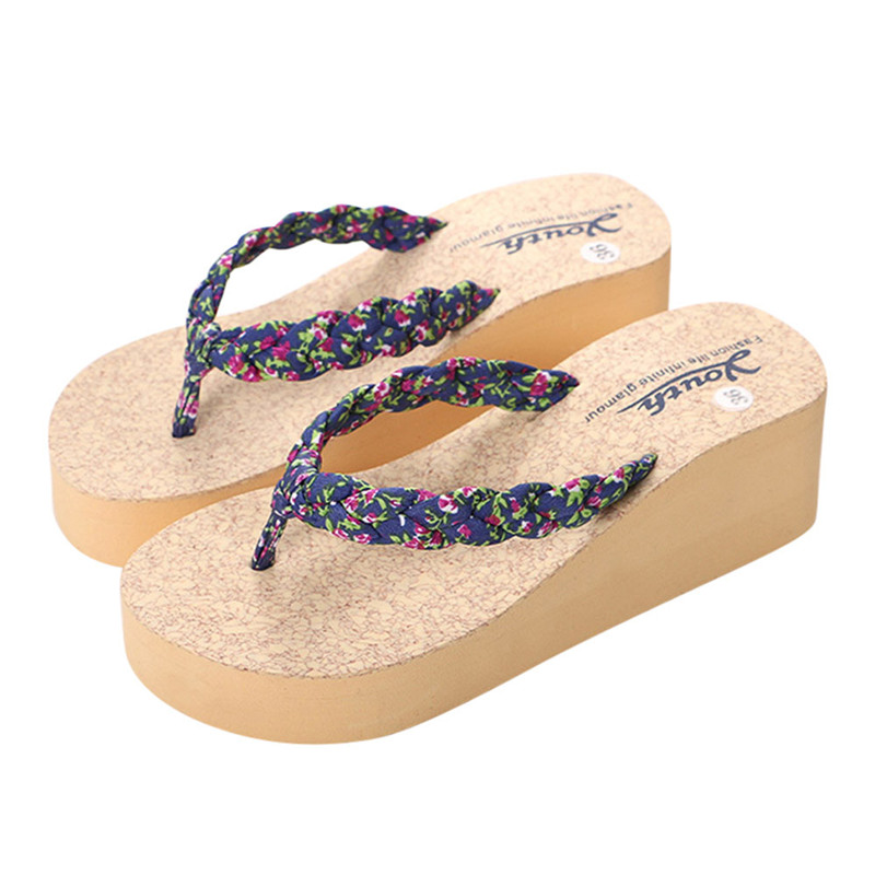 Summer Women New Casual Flip flops Slippers Shoes Beach Sandals Summer Home Shoes Female Flower Print Pantufa Home Shoes summer leisure slippers slip on round toe comfortable sandals women flat sandals casual flip flops female shoes
