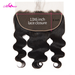 Ali Coco Brazilian Body Wave 13*6 Lace Frontal Closure With Baby Hair Natural Color 8-20 Inch 100% Human Hair Closure Remy Hair(China)