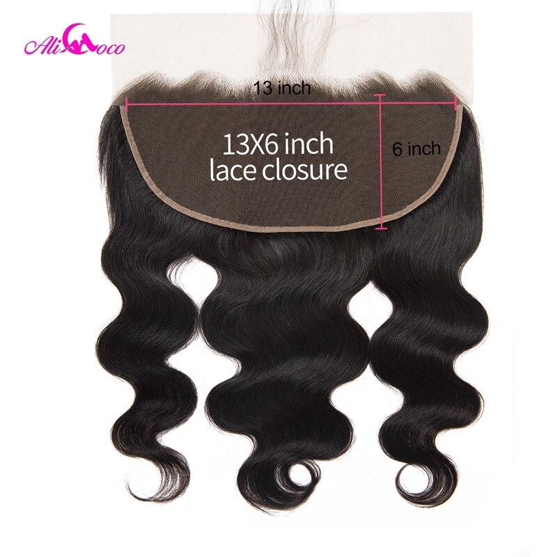 Ali Coco onda brasileña del cuerpo 13*6 cierre Frontal del cordón con el pelo del bebé Color Natural 8-20 pulgadas 100% Cierre del cabello humano pelo Remy