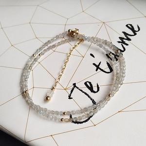 Image 2 - LiiJi collier ras du cou Unique, perles à facettes en Labradorite, collier avec fermoir en argent Sterling 925 de 40 50cm 16 20 pouces, cadeau pour mères