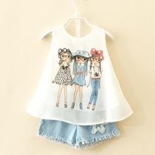 купить 2017 summer brand suit for children girls fashion baby chiffon vest shorts set girl clothes toddler 3 8 10 years kids clothing дешево