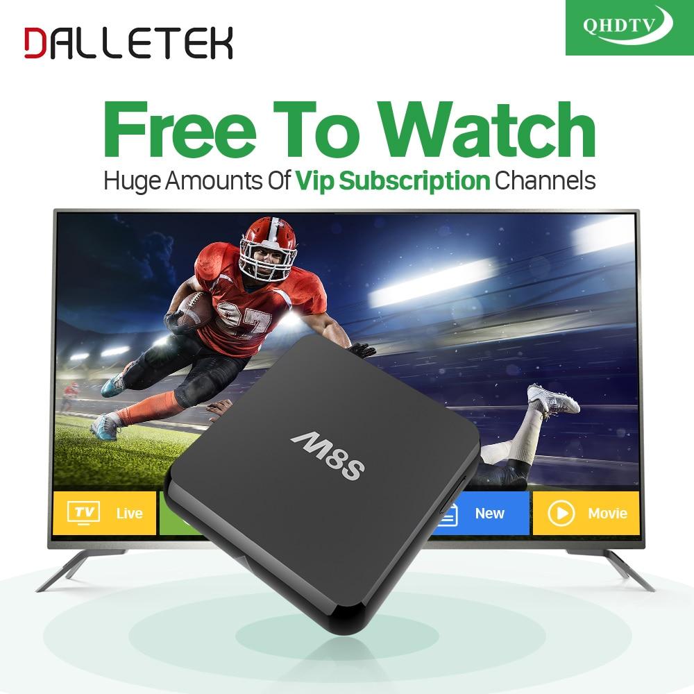 Dalletektv M8S Android Smart TV Box IPTV 1 Year QHDTV Subscription Channels Movie Sports Live Europe French Arabic IPTV Top Box movie iptv