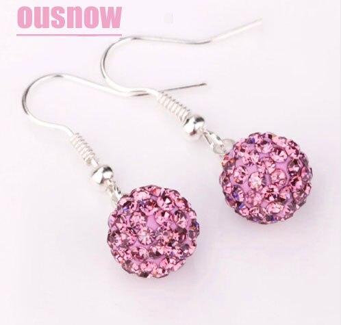 Hot! Ladies Jewelery 925 Silver Earrings Earrings Shambhala Ball Design Compatible with Original Crystal Earrings