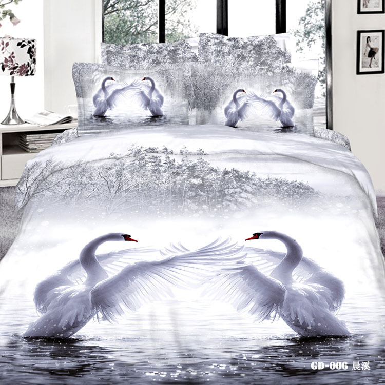 3d Blanc Swan Literie Ensemble Cal King Size Reine Pleine Double