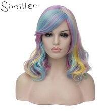 Similler 14 дюймов женщин Короткий Костюм Вьющиеся Радуга Волос Партии Cosplay Синтетический Парик + Парик Cap (Multi-цвет)