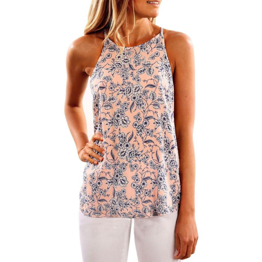 Feitong Tank Tops Women Floral Print Camisole Vest Loose Summer Sexy Sleeveless Straps Camis Tops #VE