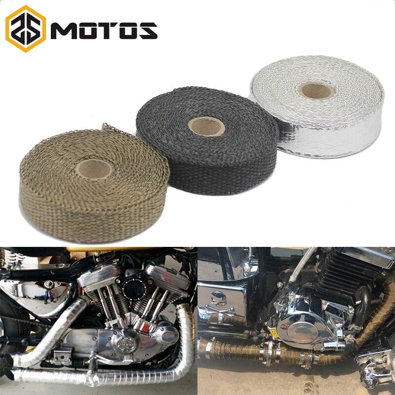 ZS MOTOS 1.5mm * 25 mm * 5 m tuyau d'échappement en-tête bandeau thermique résistant Downpipe en acier inoxydable liens pour accessoires de moto de voiture