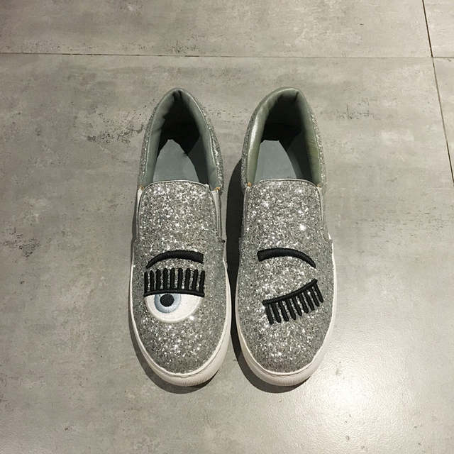 fb4253d385 Eyes Lips Women Casual Shoes Runway 2019 Women Sneakers Flats Platform  Trainers Brand Tenis Sapato Feminino Bling Lady Loafers