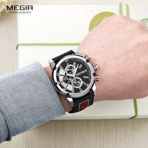 Image 5 - MEGIR montre bracelet étanche en cuir pour homme, montre à Quartz, mode chronographe, pour mains lumineuses, 2079GBK 1