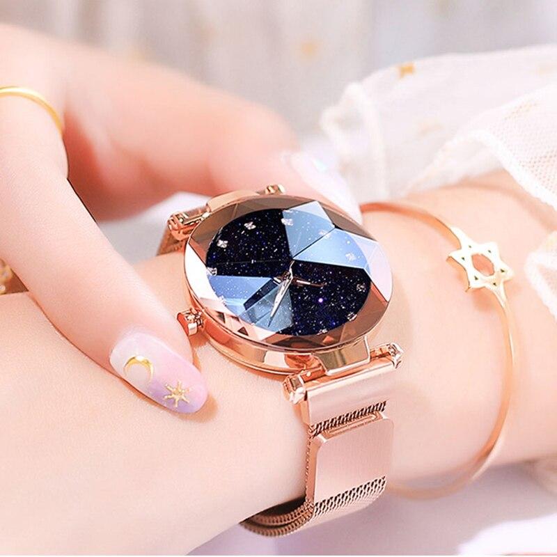 Maille d'acier inoxydable d'aimant de montre de dames de luxe avec la mode étoilée 1