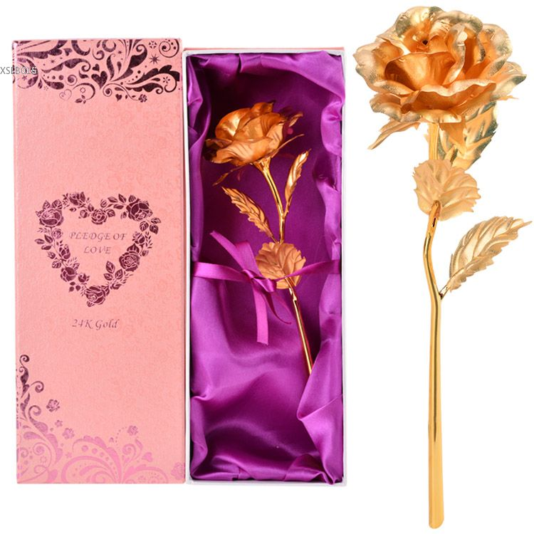 High Quality 24k Golden Foiled Bud Rose Valentine S Day Gift Lover