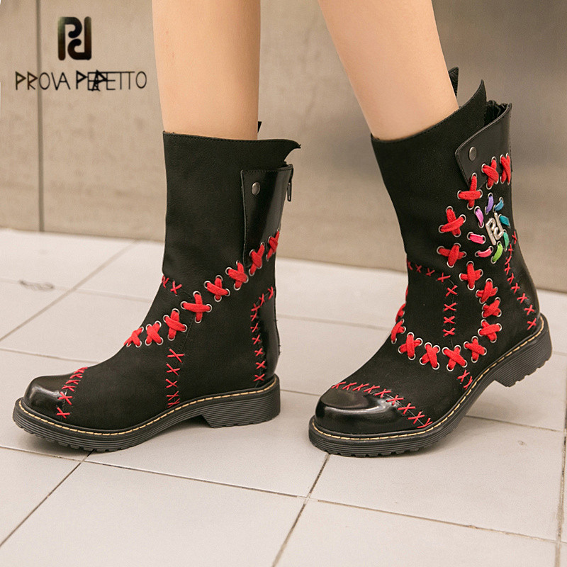 купить Prova Perfetto Handmade Autumn Winter Women High Boots Retro Flat Martin Boot Female Platform Rubber Shoes Woman Botas Mujer по цене 10449.86 рублей