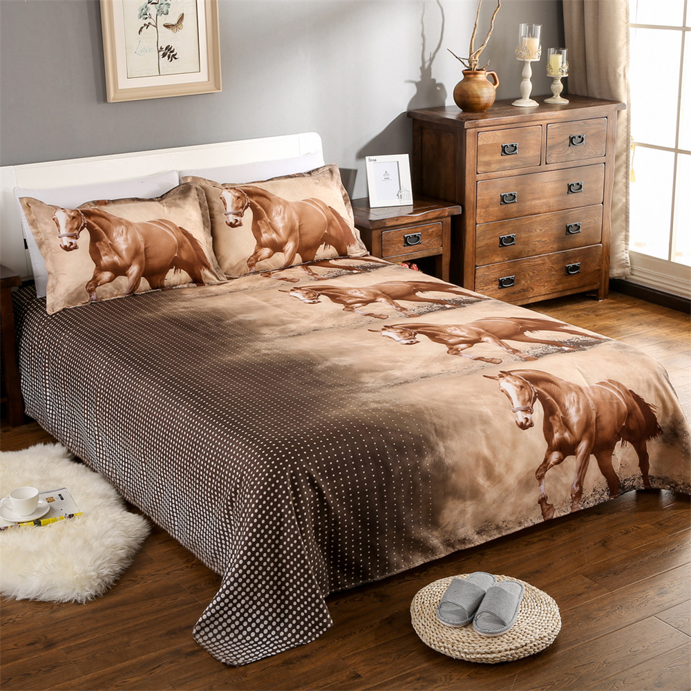 3D Horse Bedding Set Animal Print Duvet Cover Set Classic Bedclothes Bed Sheet Pillowcase Comforter Cover Set ropa de cama J25