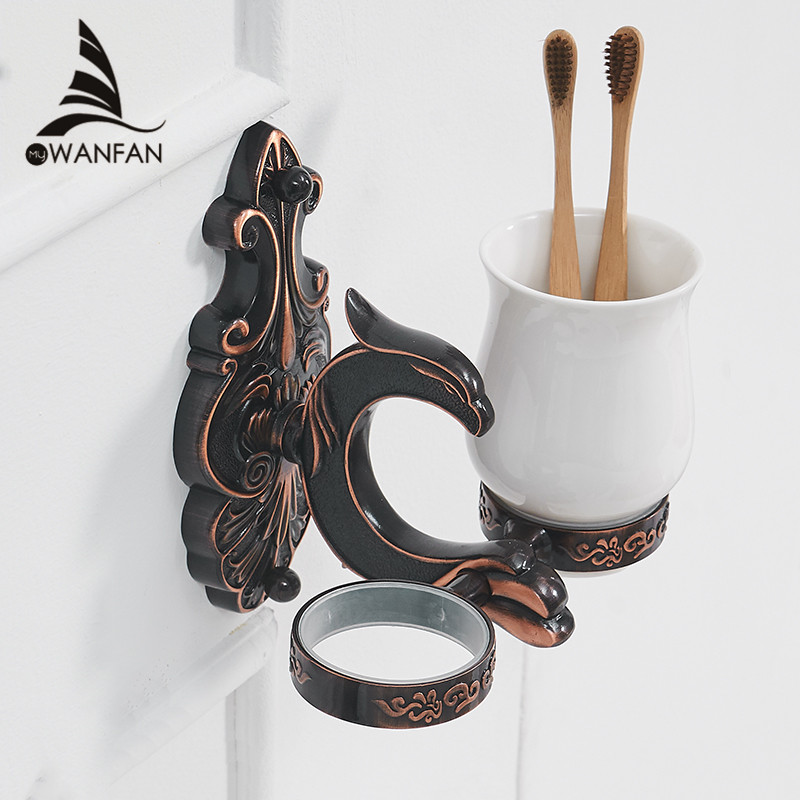 Cup & Tumbler Holders Brass Bathroom Toothbrush Holder Black Double Ceramic Cups Wall Mount Luxury Bathroom Accessories WF-88803 bathroom accessory wall mounted black oil rubbed bronze toothbrush holder with two ceramic cups wba451