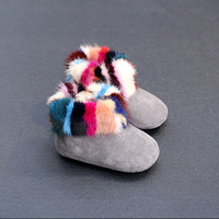 Nauhutu colorful rainbow fur baby shoes new born infant kids winter first walkers girls children loafers high quality