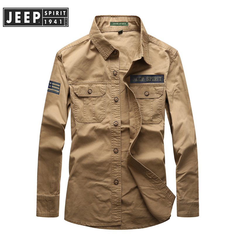 JEEP SPIRIT Military Shirt Men Autumn Casual Cotton Long Sleeve Turn Down Collar Armlet Mens Shirts Single Breasted Shirt Male
