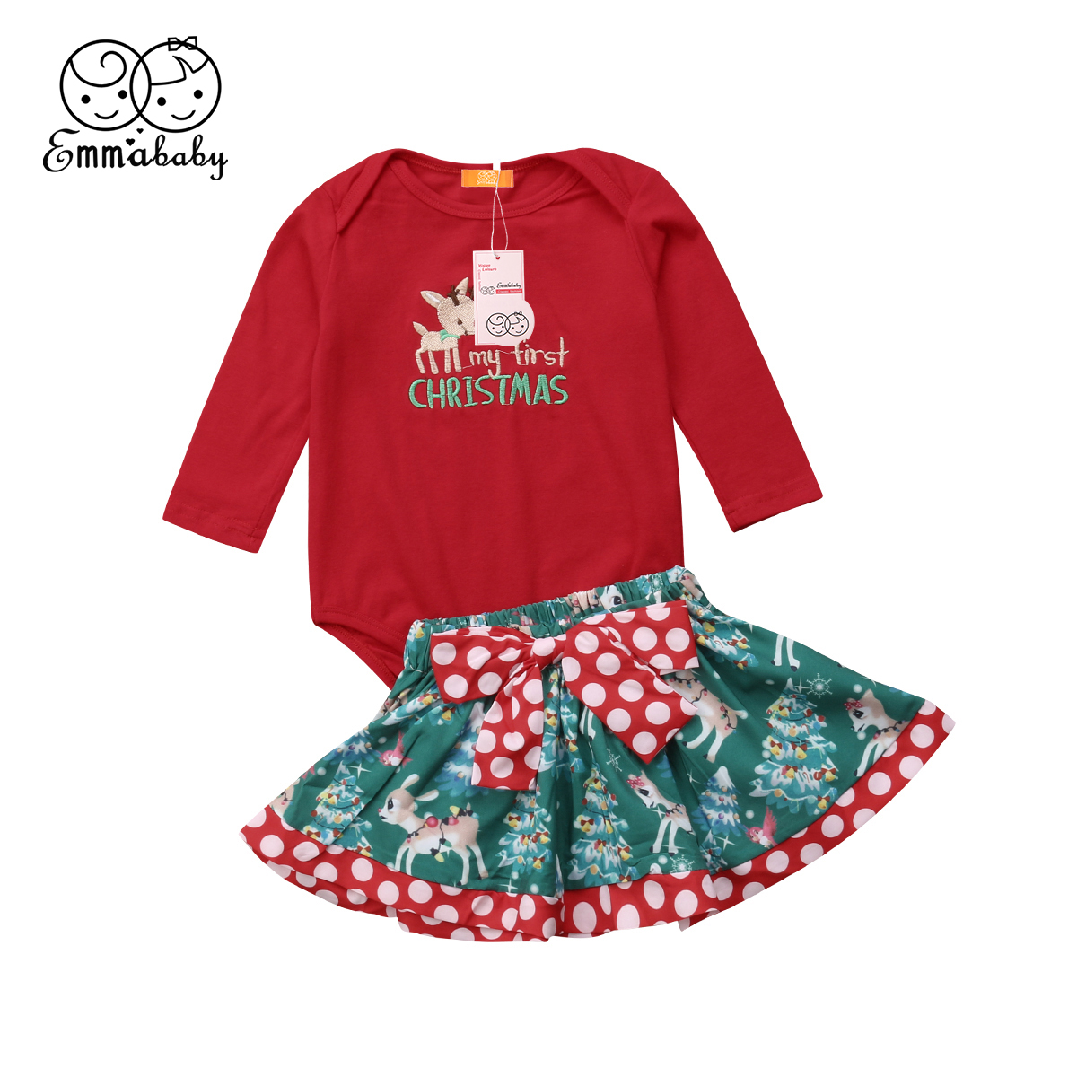 74ebe9babc9 Detail Feedback Questions about US Newborn Baby Girls Christmas Romper Tops  Tutu Skirt Bow Dress Outfits Set on Aliexpress.com