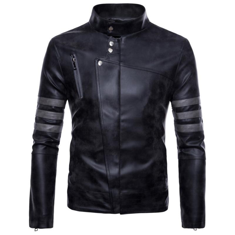 Degli uomini della Chiusura Lampo Irregolare Glassato PU uomo mens del progettista cappotti di Pelle da uomo fashion giacche - 4