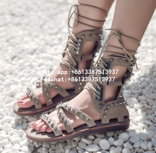 2017 Nubuck Leather Summer Ankle Boots Lace Up Shoes Woman Open Toe Casual Flats Rome Gladiator Sandals Women Ladies Shoes 41 soft leather christy lace up flats pointed toe ballet loafers spring summer shoes woman cross strappy casual gladiator sandals