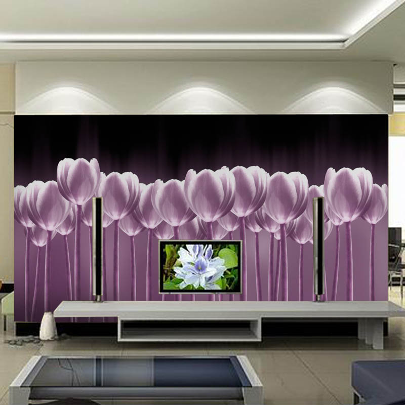 Large Purple Flower Tulip 5d Papel Murals 3d photo mural Wall paper for sofa tv background 3d wall murals Wallpaper 3d ручка feizerg f001 purple fp001