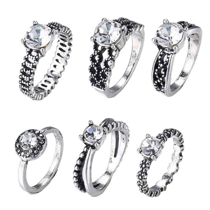 6 Pcs/Set Knuckle Ring Jewelry Women Silver Exquisite Carved Midi Finger Rings Silver Antique Zircon Decoration Lady Gifts Ethni